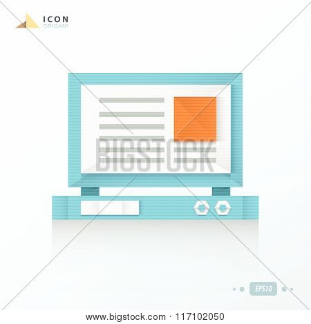 Laptop Origami Icon Design