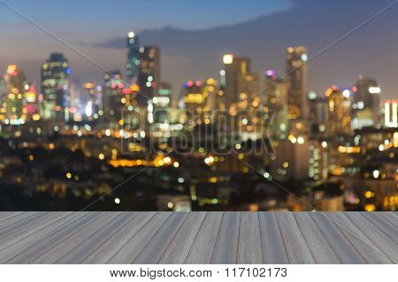 Blurred bokeh light city night background