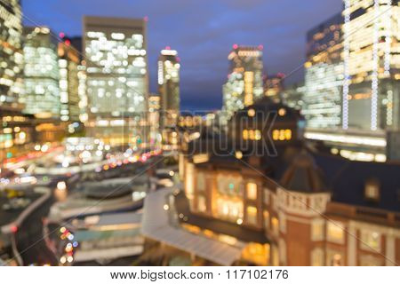 Blurred bokeh light night view Marunouchi business district