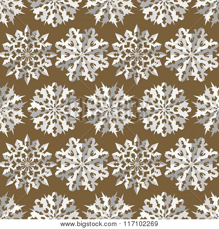 Seamless christmas pattern. Origami snowflakes signs. Paper white cut out silhouettes on gold backgr