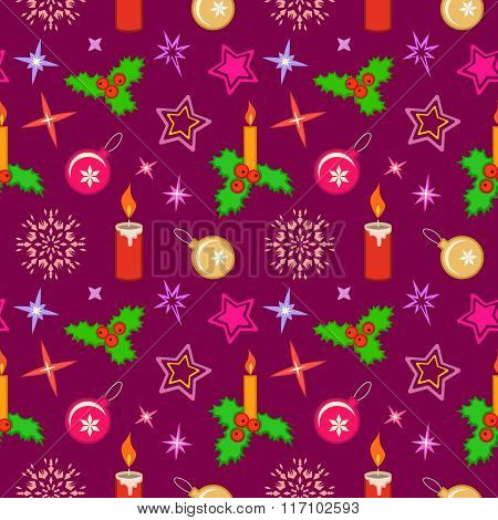 Seamless christmas pattern. Winter, holiday texture. Holly berry, candle, ball, star, snowflake colo