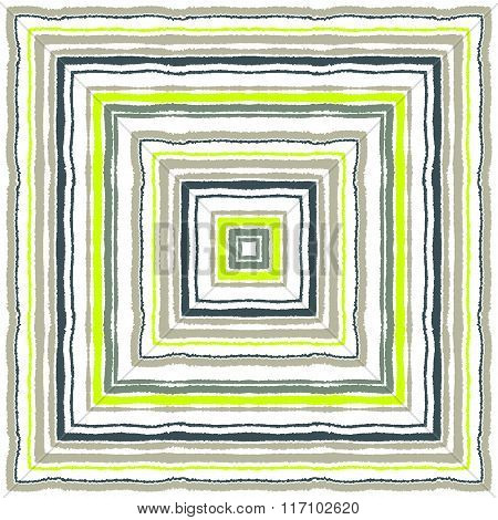 Striped rectangle  pattern. Square lines with torn paper effect. Ethnic background. White, gray, oli