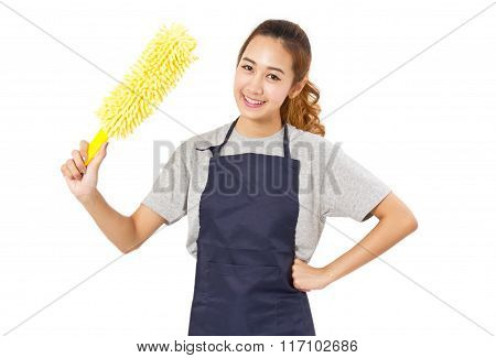Asian Woman Wearing Apron Holding Yellow Dust Cleaner.