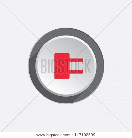 Electric plug sign. Power energy symbol. Red sign on round three-dimensional white-gray button. Vect