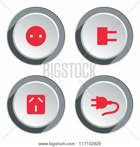 Electric socket base icon set. Power energy symbol. Red sign on round three-dimensional white-gray b