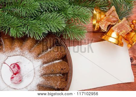 New Year Muffin With Christmas Tree Branch
