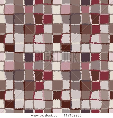 Seamless geometric mosaic checked pattern. Background of woven rectangles and squares. Patchwork, ce