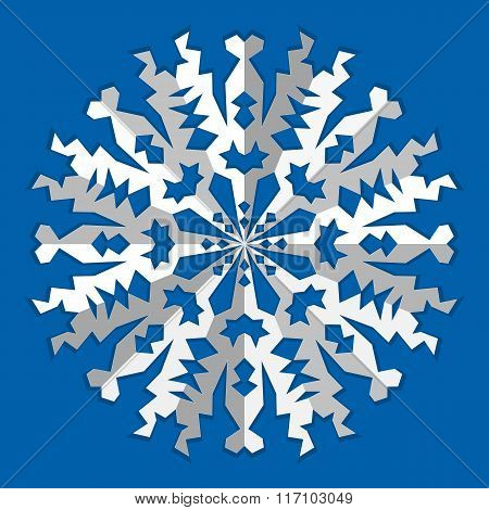 Christmas snowflake icon. Paper cut out origami sign with shadow. Winter, New Year, childhood, nosta