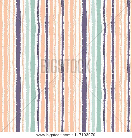 Seamless striped pattern. Vertical narrow lines. Torn paper, shred edge texture. Orange, blue, white