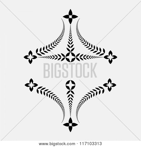 Laurel wreath tattoo. Decorative ornament. Victory, peace, glory, summit symbol. Black silhouette on
