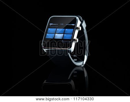 close up of black smart watch interface