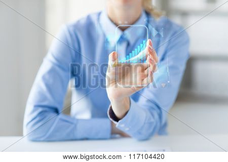 close up of woman with transparent smartphone
