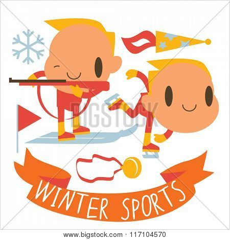 people and winter sports activities: ski, skate, sled and others. Winter competitions: Biathlon and Speed Skating