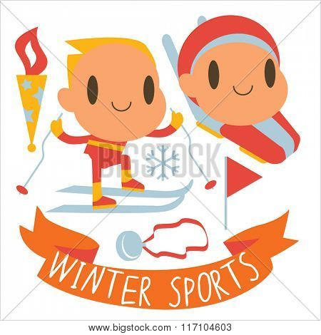 people and winter sports activities: ski, skate, sled and others. Winter competitions: Cross Country Skiing and Bobsleigh