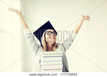 happy student in graduation cap