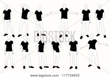 Collection Of Posing Man Silhouettes.