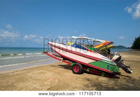 Colourful Sea Fishing Boats On Tropical Beach Asia