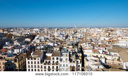 Aerial view of Old Seville from the Giralda Tower, to the right is the shadow of the tower itself, Andalucia, Spain.