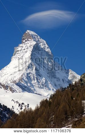 winter view of the Matterhorn in the alpine village of Zermatt, Switzerland