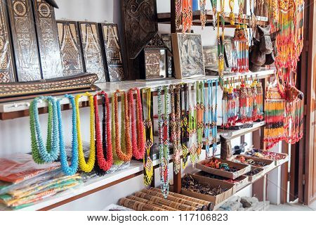 Hand Made Necklaces And Souvenirs In The Market