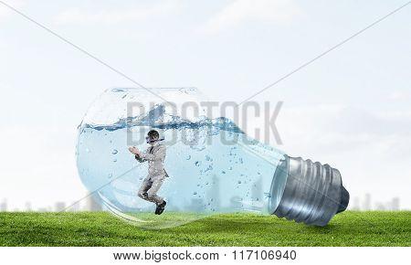 Businessman diver. Concept image
