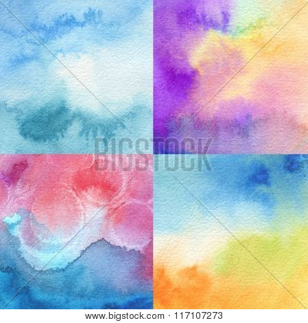 set of abstract acrylic and watercolor painted background. Texture paper.
