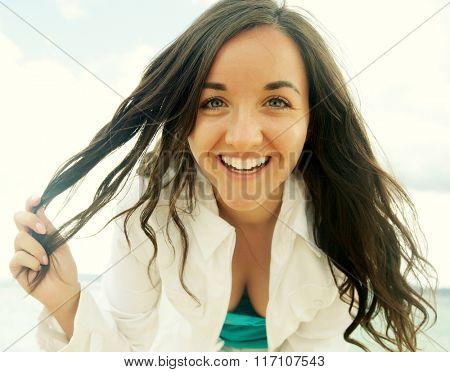 close up Happy woman near ocean, summer vacation