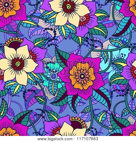 Seamless Paisley Background.colorful Flowers And Leafs On Blue Background.