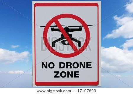 No Drone zone sign on sky background