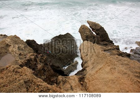 rocks on the shore of the Mediterranean Sea