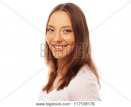 young woman wearing white t-shirt