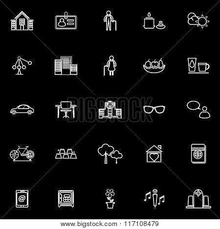 Retirement Community Line Icons On Black Background