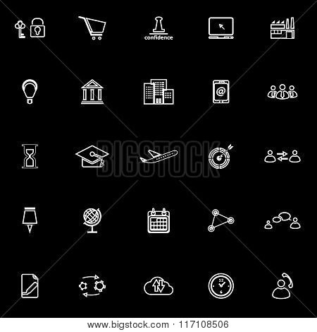 Business Connection Line Icons On Black Background
