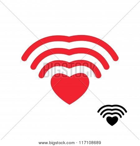 Wifi And Heart. Wireless Transmission Of Love Wi Fi. Remote Access To Romantic Feelings. Internet Lo