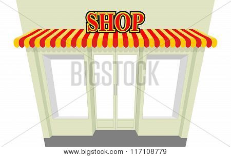 Shop. Storefront With Visor. Isolated Shop Building. An Empty Counter. Net Shop. Striped Awning At B