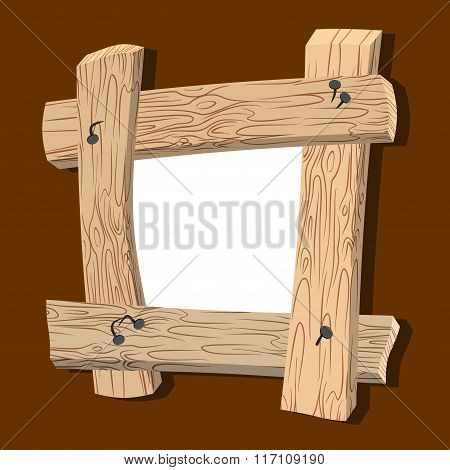 Frame Is Made Of Wood. Wooden Boards And Old Nails. Vintage Homemade Photo Frame.