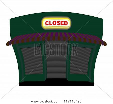Shop Is Closed. Glow Plaque On Facade Of Store. Shop Building At Night. Windows And Doors Are Closed