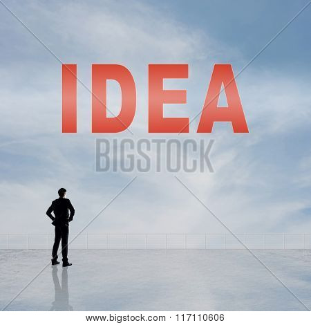Concept of abstract concept with text on the sky and one man look at it.