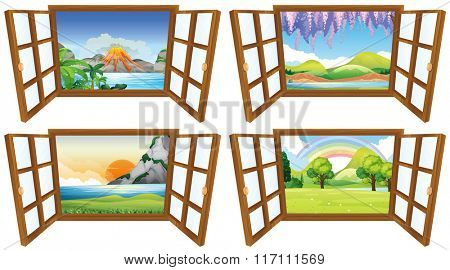 Four nature scenes through the window illustration