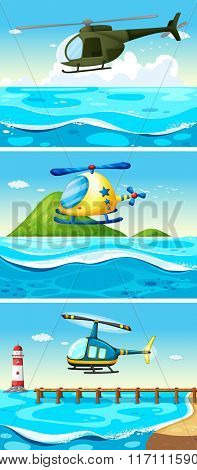 Helicopter flying over the ocean illustration