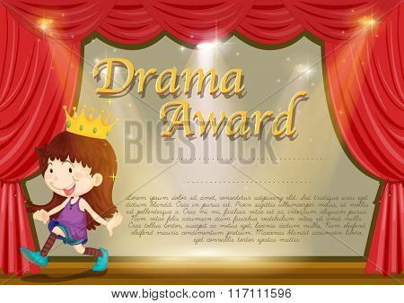 Certificate template with girl on stage illustration