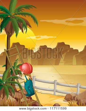 Girl climbing up the palm tree illustration