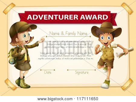 Adventure award with two children background illustration