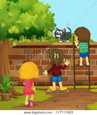 Children climbing up the wall illustration