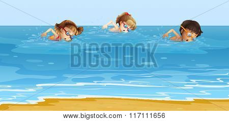 Children swimming in the ocean illustration