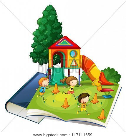 Giant book with children playing at playground illustration