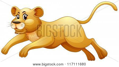 Little cub running alone illustration