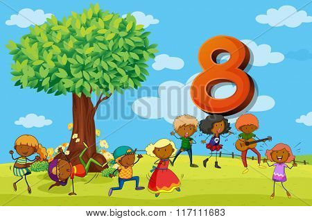 Flashcard number 8 with eight children in the park illustration