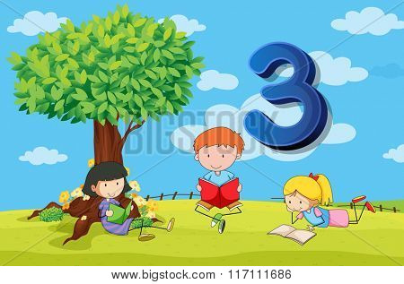 Flashcard number 3 with three children in the park illustration