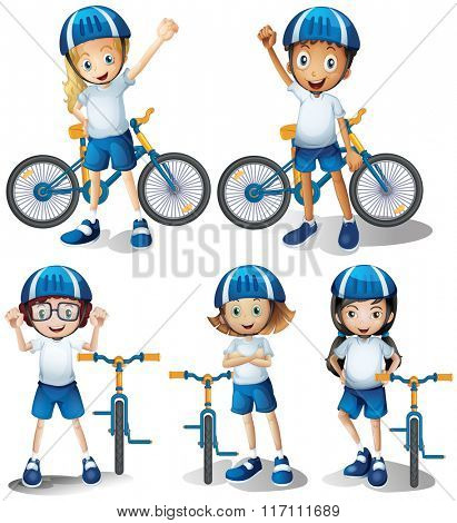 Boys and girls riding bicycle illustration